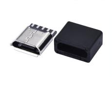 MICRO焊线式5P母座安卓V8接口 带黑色护套