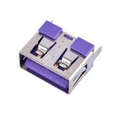 紫色胶芯A母USB连接器 180度直立式5A大电流