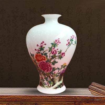 景德镇陶瓷器手绘粉彩花瓶中式客厅家居装饰