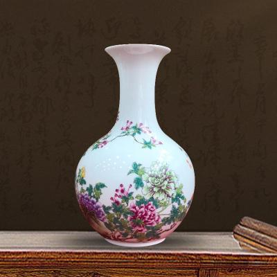 景德镇陶瓷器手绘梅花花瓶插花中式家居展示
