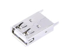 A母USB直插19.6加長母座DIP立式插板卷邊USB