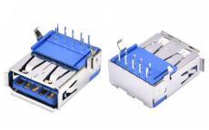 單層USB3.0母座連接器90度DIP插板AF藍膠A母