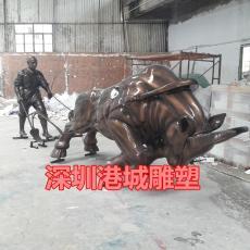 湖南農業基地玻璃鋼人拉犁耕地牛雕塑廠家