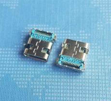 TYPE C母座前插后贴24P 蓝胶 满PIN 大电流
