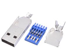 A公USB3.0公头焊线三件式AM3.0连接器