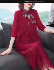 中國風新款刺繡大碼連衣裙 實體熱賣詩韻