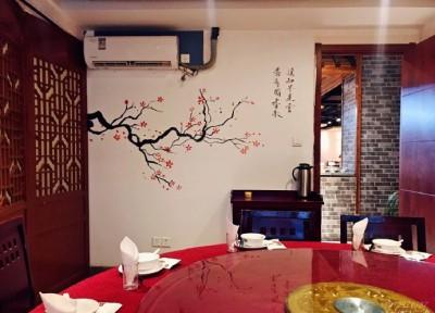 常州中式餐馆包间墙体绘画新款 现场手绘墙1