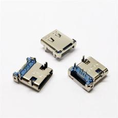 USB 3.1 16P TYPE-C母座 板上前插8P后貼8P