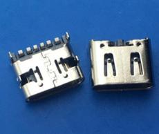 簡易型 臥式TYPE C母座6P 單排貼板 四腳插