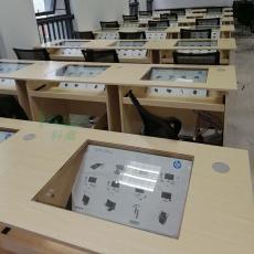 嵌入式隐藏电脑桌 多媒体培训电脑桌 定制