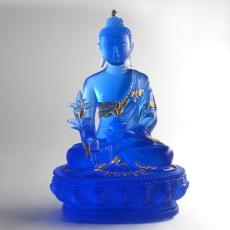 台湾琉璃佛像定制 寺庙琉璃万佛药师佛厂家