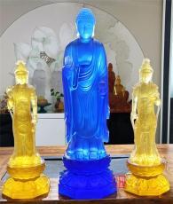 上海琉璃佛像定制 大号琉璃药师佛东方三圣