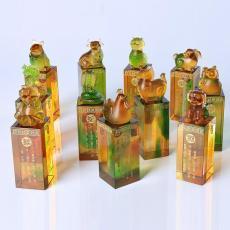 广州古法琉璃印章礼品 琉璃十二生肖印章