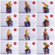廣州十二生肖印章水晶琉璃禮品生肖牛工藝品