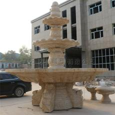 黄锈石喷泉石雕喷泉摆件大盆流水喷泉景观