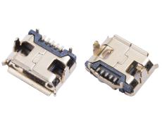 MICRO USB 5P母座牛角四脚DIP插板外壳镀金