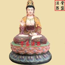 寺廟佛像定做 彩繪觀音菩薩坐蓮花塑像廠家