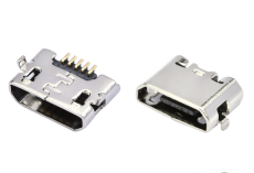 B型MICRO USB连接器5P反向母座DIP插板直边