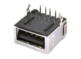 USB 4.0A母 全包单层USB连接器插板90度DIP