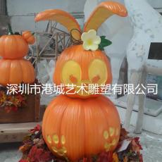 南瓜公仔設計玻璃鋼卡通南瓜兔子雕塑生產廠