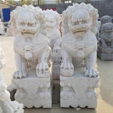 石雕獅子漢白玉小獅子擺件一對鎮宅石獅子