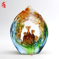 广州琉璃工艺品定做厂家 三阳开泰琉璃摆件