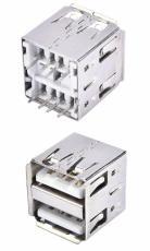 A母雙層USB4.0母座直插立式180度插板無腳