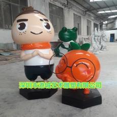 南丰蜜桔IP形象玻璃钢卡通柑橘吉祥物雕塑价