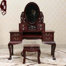 上海红木家具翻新维修制作工艺梳妆台与床的