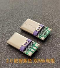 2.0數據板TYPE C公頭 紫色膠芯LCP 雙56K電