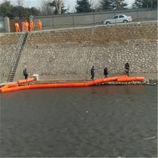 進水口圓柱形塑料浮筒水電站浮式攔污排安裝