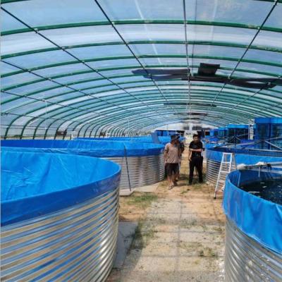 圆形铁桶镀锌板帆布水池新款大型户外养殖池