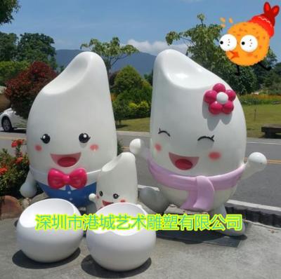 丝苗米IP吉祥物玻璃钢大米卡通公仔雕塑厂家