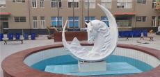 弯月马头不锈钢模型抽象动物水池金属雕塑