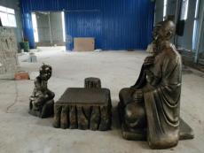 神仙老者童子下棋鑄銅雕像對弈爺孫人物塑像