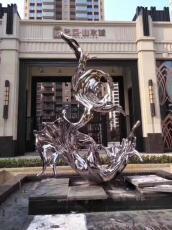 不銹鋼抽象水波浪模型水景金屬鏡面波浪雕塑