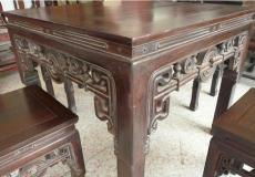 闵行区华漕镇红木老餐桌椅翻新岁月的痕迹