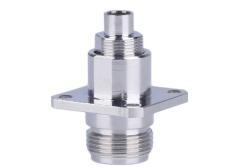 N-KF5四方低耗电缆座 螺纹对接射频同轴插座