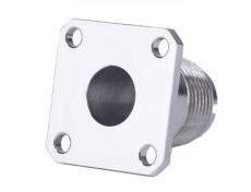四孔法兰固定C1302螺纹连接器 RF射频同轴