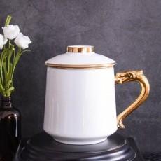 达美瓷业金柄骨瓷茶漏盖杯