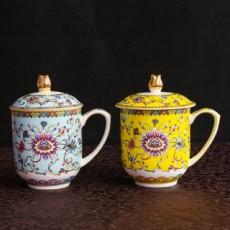 达美瓷业陶瓷茶杯珐琅彩骨瓷盖杯