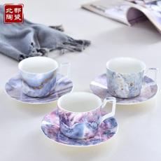 廠家定制陶瓷咖啡杯 電光金咖啡杯碟