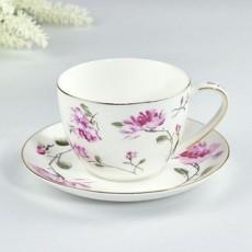 达美瓷业陶瓷餐厅家用咖啡杯金边骨瓷杯碟