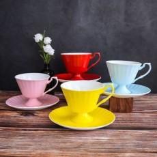 达美瓷业美式陶瓷彩色杯碟骨瓷咖啡杯碟
