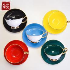 咖啡杯碟套裝 陶瓷家用簡約下午茶骨瓷色釉