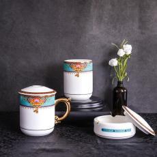 唐山北都陶瓷批發骨瓷辦公室3件套 骨瓷杯