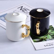 廠家批發骨瓷辦公會議杯陶瓷金把手如意蓋杯