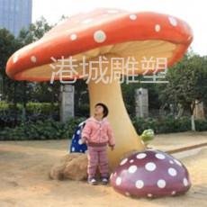 文化公園大型休息亭玻璃鋼蘑菇傘雕塑定制廠