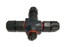M19-2芯螺丝对接四通T型三通防水尼龙连接线
